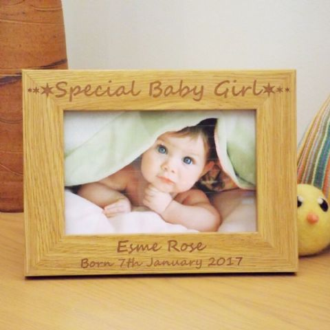 Special Baby Girl Wooden Photo Frame Birth Christening Day Gift